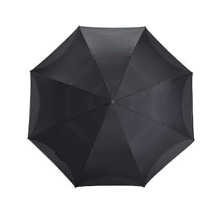 Umbrella Paraguas con Mango Recto, Paraguas Reversible de Color Sólido, Tira Reflectante Lateral del