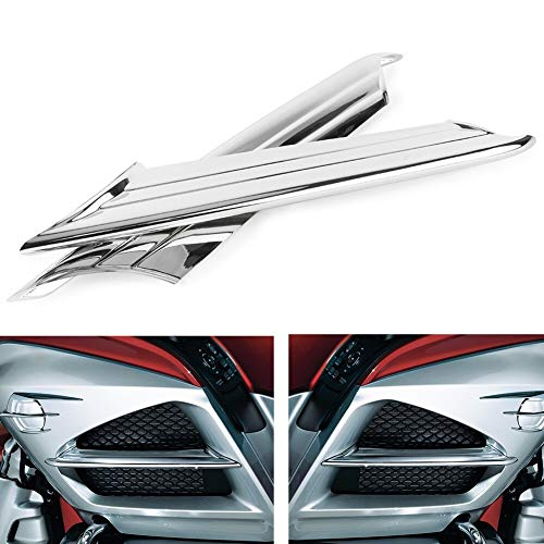 Alina-Shops - Goldwing GL1800 Chrome Motorcycle Side Vent Fairing Fins Scoop Accents Trim Cover For Honda 2012 2013 2014 2015 ()