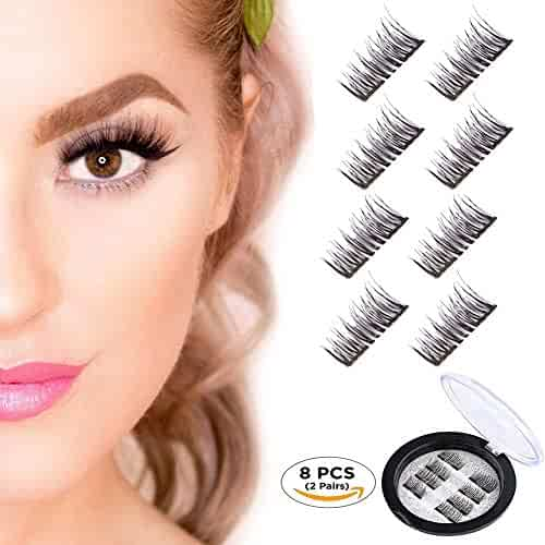5ed89d2fcbb Magnetic False Eyelashes, Beatife 3D Black Dual Magnetic, Ultra Thick Ultra  Solf and Long