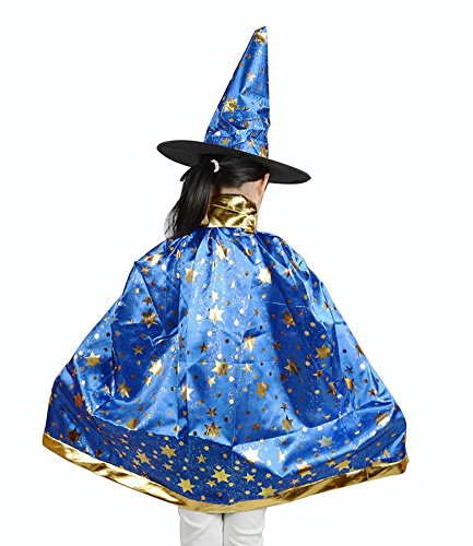 Teddy Spirit Halloween Costumes Witch Wizard Cloak with Hat for Kids Boys Girls (Blue) (Witch Girl Costume)