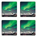 Lunarable Nature Coaster Set of Four, Aurora above Fjords Magical Nordic Aurora Borealis Sky Arctic Solar Scenery, Square Hardboard Gloss Coasters for Drinks, Jade and Green