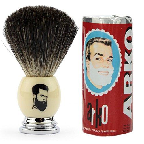 Rusty Bob - Shaving brush badger-silver-tip badger-bristle-chrome + Arko Shaving set - Beige-Silver