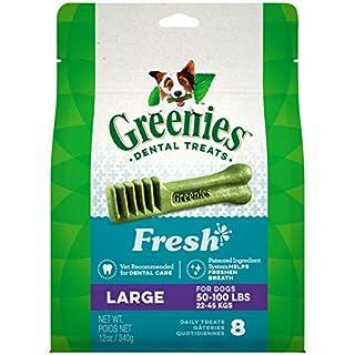 GREENIES Large Natural Dog Dental Care Chews Oral Health Dog Treats Fresh Flavor, 12 oz. Pack (8 Treats)