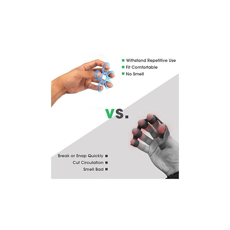 AllCare Finger Stretcher Hand Resistance Band Hand Extensor Exerciser Finger Grip Strengthener Strength Trainer Gripper Set for Arthritis Carpal Tunnel Exercise Guitar and Rock Climbing 3pcs