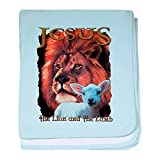 Royal Lion Baby Blanket Jesus The Lion And The Lamb - Sky Blue