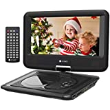 "Criacr 11.5"" Portable DVD Player with 9.5"" Swivel Screen, Built-in 6-Hour Rechargeable Battery, Support CD/DVD/SD Card/ USB, Power AC Adapter and Car Charger Included - (Remote Control)"