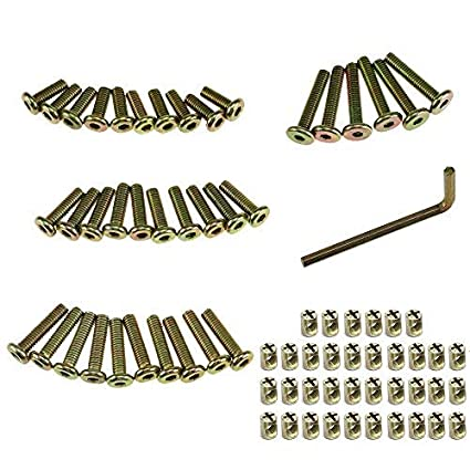 Allen Headed Furniture M6 Bolt and Barrel Nut Zinc Plated Hex Drive Socket Cap Furniture Barrel Screws for Furniture Cots Beds Crib and Chairs with Wrench (50mm 41pcs) Paor