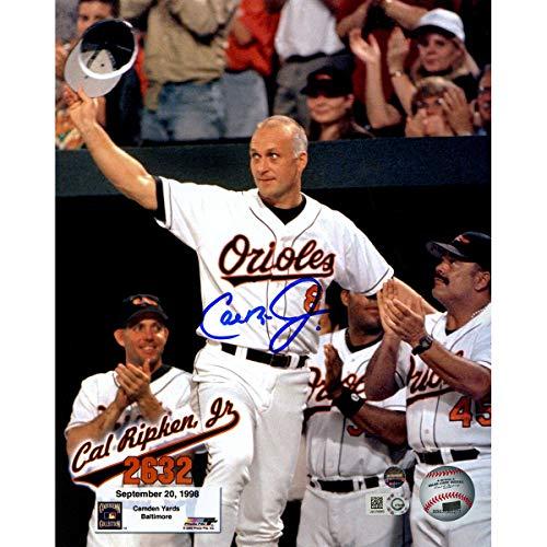 (Orioles Legend Cal Ripken Jr Autographed Signed 2632 Wave To Fans 8x10 Photo Text Overlay - Authentic Memorabilia)