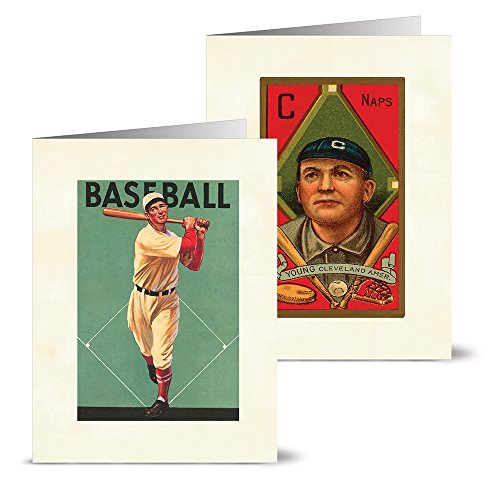 Vintage Baseball - 36 Note Cards - 12 Designs - Blank Cards - Off-White Ivory Envelopes Included