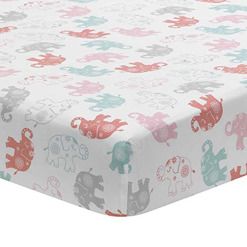 Lambs & Ivy Boho Elephant White/Pink/Gray Baby Fitted Toddler/Crib Sheet