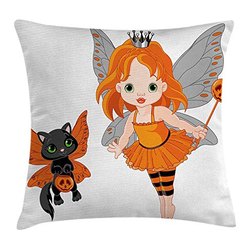Halloween Throw Pillow Cushion Cover, Halloween Baby Fairy and Her Cat in Costumes Butterflies Girls Kids Room Decor, Decorative Square Accent Pillow Case, 18 X 18 inches, Multicolor ()