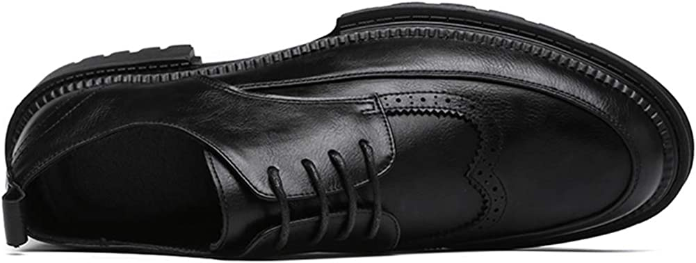 Leoed Mens Modern Lace-up Wingtip Brogue Oxford Dress Shoes Wedding Shoes Black Size 6-10
