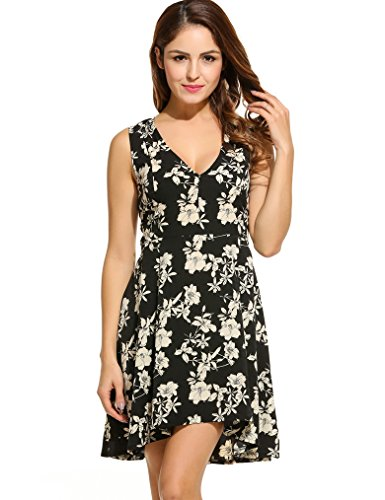 Halife Womens Bohemian Vintage Printed Ethnic Style Sleeveless Summer Floral Dress (XXL,Black) (Plus Size Teen)