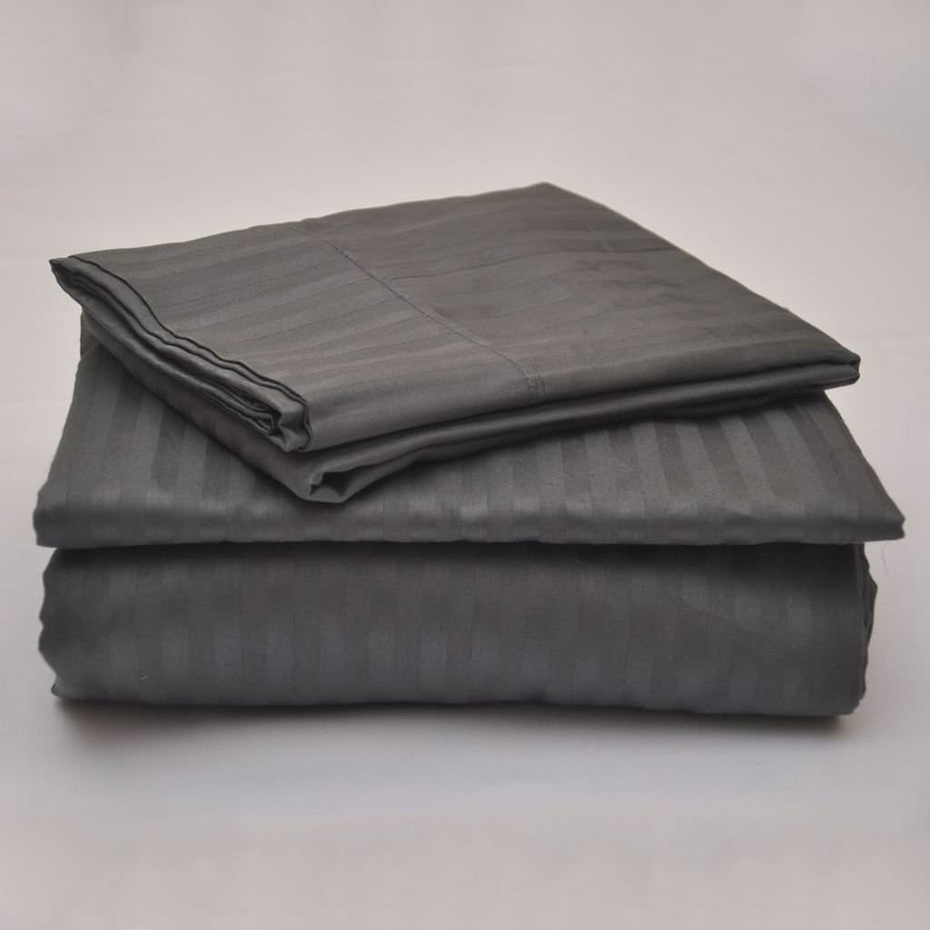 Orion Bedding Present- 100% Cotton 600 TC 4 Piece Premium Sheet Set (1 Fitted Sheet, 1 Flat Sheet and 2 Pillowcases) Fit Up to 18-Inch-Deep Pocket (Queen XL, Sage Stripe)