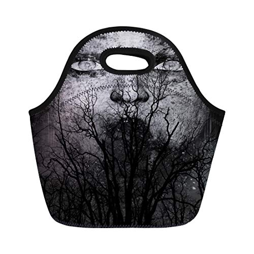 Semtomn Lunch Tote Bag Halloween 3D of Scary Ghost Woman Horror Mixed Media Reusable Neoprene Insulated Thermal Outdoor Picnic Lunchbox for Men Women ()