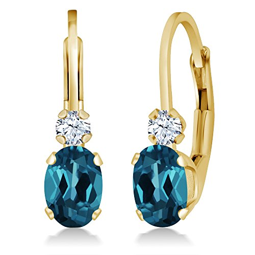 Gem Stone King 1.18 Ct Oval London Blue Topaz White Created Sapphire 14K Yellow Gold Earrings