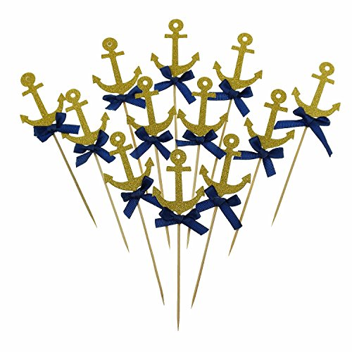 (Bilipala Anchor Cake Cupcake Topper Picks For Nautical Theme Decorations Party Supplies, 12)