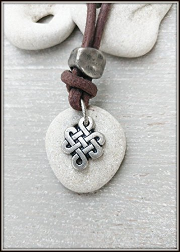 Natural Healing Hag Stone Necklace for Men and Women With Celtic Knot, Spiritual Jewelry