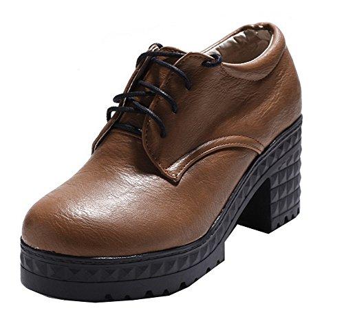 Odomolor Women's Kitten-Heels Solid Lace-up Closed-Toe Court Shoes Brown KwqTa