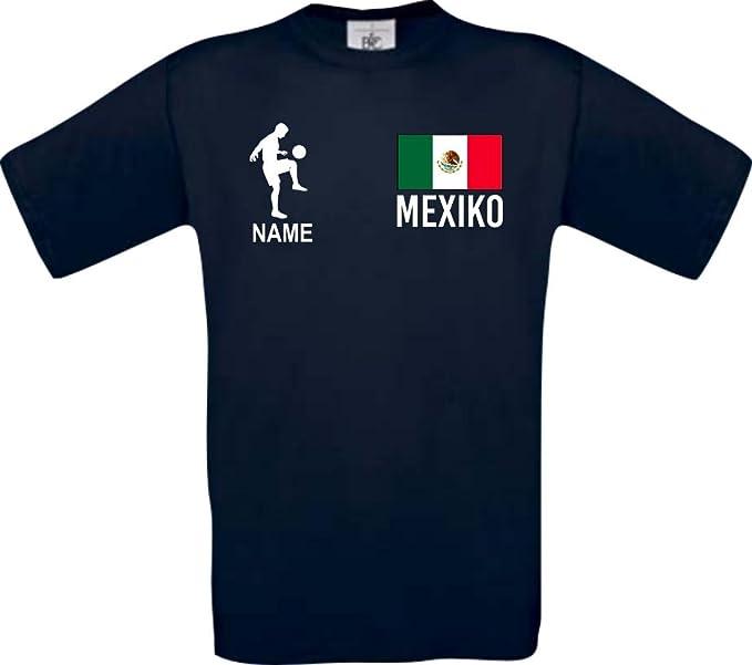 Shirtstown Camiseta De Niño Camiseta de Fútbol México Hungría con Su Nombre Deseado Estampado - Azul