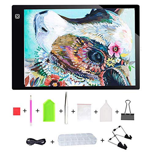 Diamond Painting A4 LED Light Box Tracer USB Power Cable Dimmable Brightness Artcraft Tracing Light Pad Light Box with Free Tool for Artists Drawing Sketching Animation Designing Stencilling