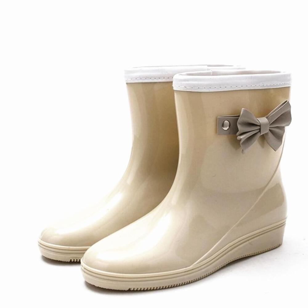SIHUINIANHUA Frau Anti-Rutsch-Regen Stiefel Bogen Regen Stiefel Rohr Wasser Schuhe Schuhe beige 39