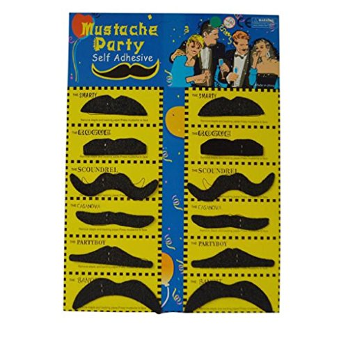 [Generic Hot 12pcs Costume Party Halloween Funny Fake Mustache Moustache Beard Whisker (Black)] (Costumes With Moustaches)