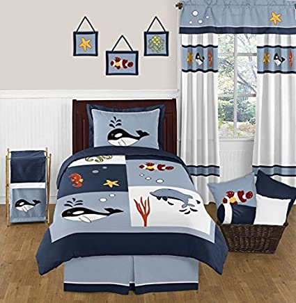 Sweet Jojo Designs 4 Piece Ocean Blue Octopus Starfish Whale Dolphin Sea  Life Kids Boy