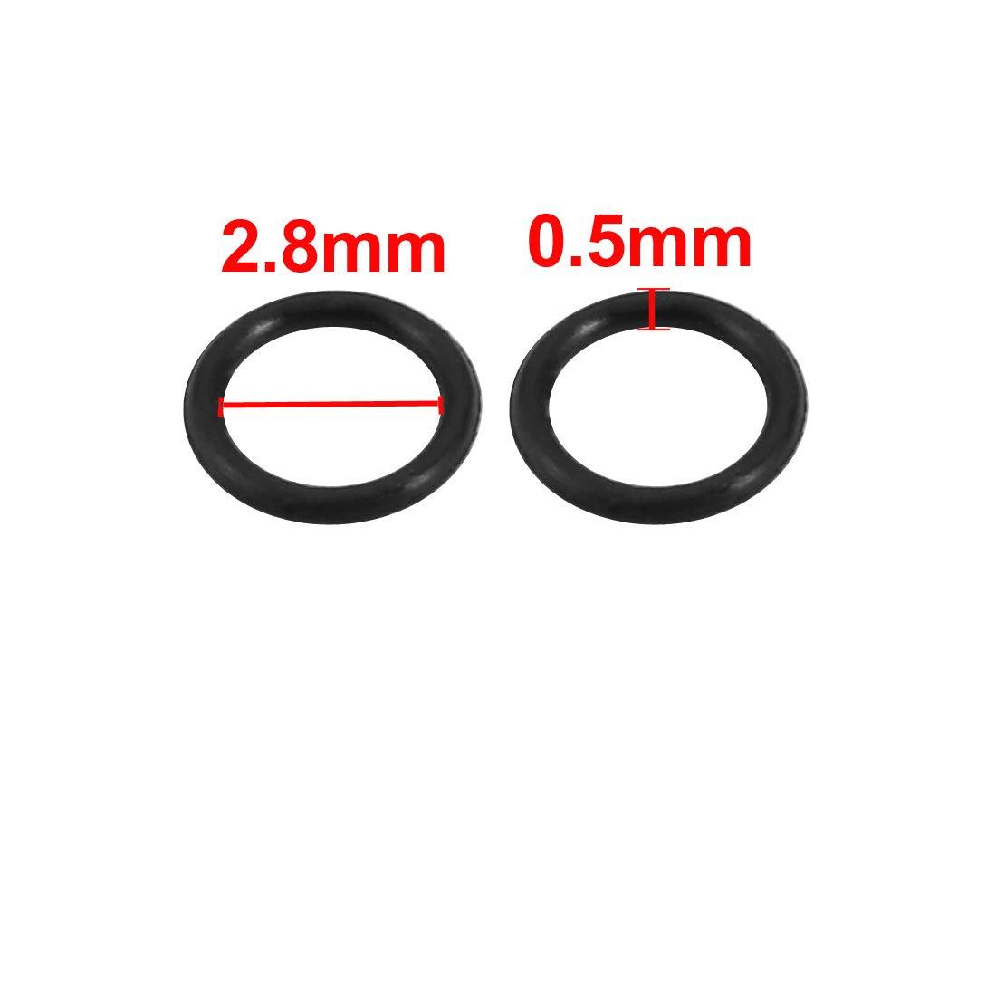 sourcingmap 100pcs Black Nitrile Butadiene Rubber NBR O-Ring 2.8mm Inner Dia 0.5mm Width