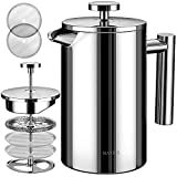BAYKA French Press Coffee Maker, Stainless Steel