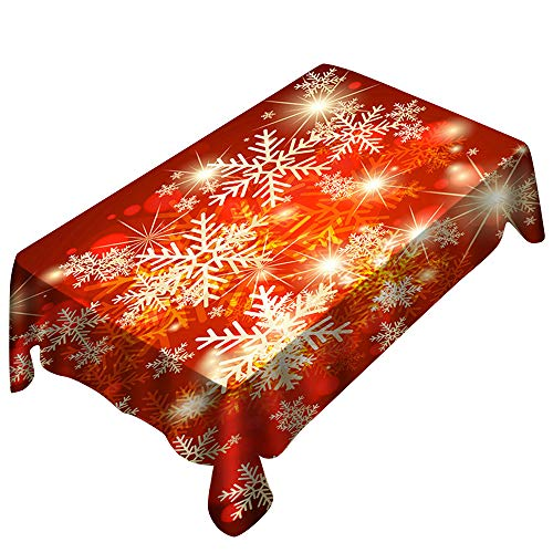 Digood Christmas Tablecloth Snowflake Printed Water Resistant Wrinkle Free Stain Resistant Home,Party, Holiday Dinner Rectangle Table Cover, Yellow and Red (150x300cm)