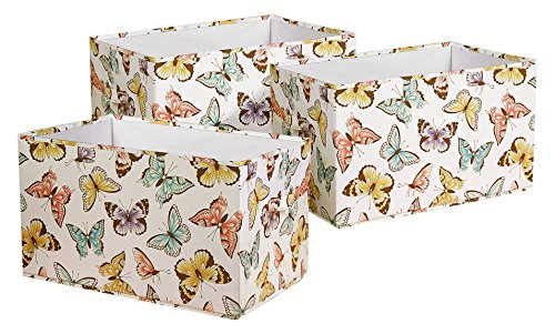 Pink 3 Fabric Storage - Lush Decor Flutter Butterfly Fabric Covered 3 Piece Collapsible Storage Box Set, 15