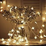 Tencoz Star String Lights,Battery Operated String Lights with 50 LED Star Curtain Lights for Bedroom Curtain Wedding Birthday Holidays Rooms Indoor or Outdoor Decoration(Warm White)