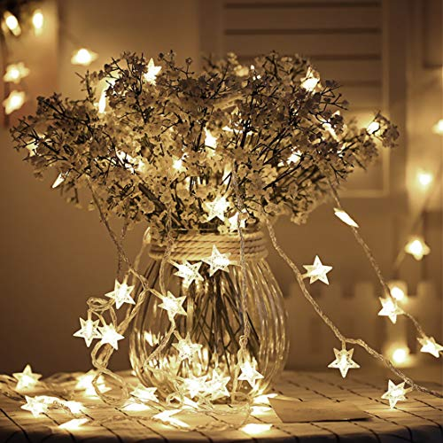 Tencoz Star String Lights Battery Operated with 50 LED for Bedroom Curtain Wedding Birthday Holidays Rooms, Warm White