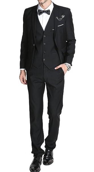 Amazon.com: MOGU traje de corte entallado, 3 piezas, para ...