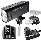 Godox AD200 200Ws 2.4G TTL Speedlite 1/8000s HSS 2900mAh Battery with X1C-T Wireless Transmitter for Canon DSLR Camera with MicroFiber Cloth