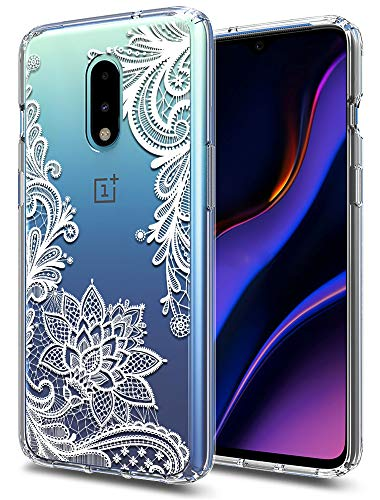 (OnePlus 7 Pro Case Huness TPU Grip Bumper and Clear Flower Transparent Hard PC Backplate Hybrid Slim Phone Case Cover for OnePlus 7 Pro (Flower))