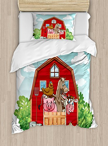 Cartoon Duvet Cover Set by Ambesonne, Happy Farm Animals Living in Barnhouse Chicken Pig Horse Domestic Rural Artistic, 2 Piece Bedding Set with Pillow Sham, Twin / Twin XL, Green (Cartoon Baby Farm Animals)