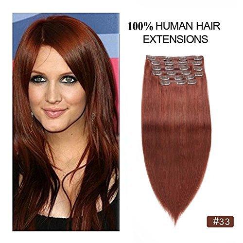 Dark Auburn Clip in Hair Extensions Full Head, Re4U 14