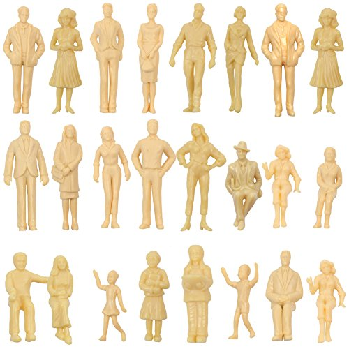 P2501B 24pcs Model Trains Architectural 1:25 UnPainted Figures G Scale sitting and standing person model railway layout NEW (Model People Figures)