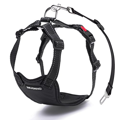- INVENHO Dog Car Harness Plus Connector Strap Safety Vest Harness Adjustable Double Breathable Mesh Fabric Travel Regular Vest Harness with Car Seat Belt Lead Clip(X-Large,Black)