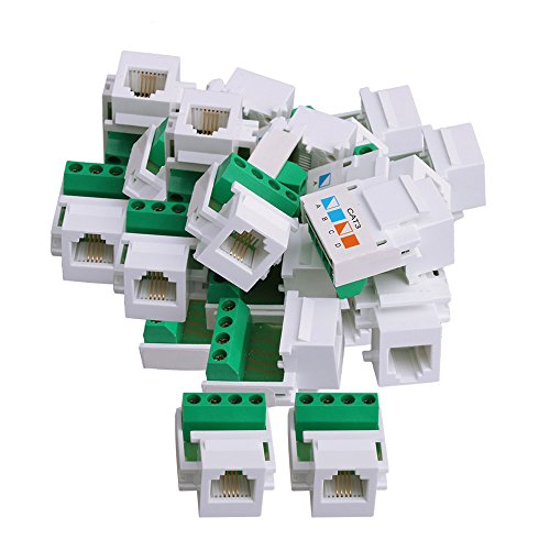 BQLZR - Adaptador de red Ethernet CAT.3 con clavija y tornillos (50 unidades), color blanco