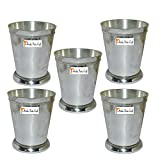 """Set of 5 - Prisha India Craft ® Beaded Silver Mint Julep Cup - 10 oz Beaded 4"""" Tall - Made of brass, nickel plated - CHRISTMAS GIFT ITEM"""