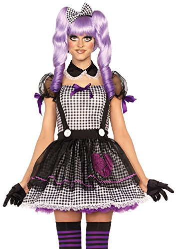 Leg Avenue Women's Dead Eye Dolly Costume, Black/White, Small ()