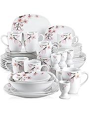 """VEWEET Porcelanowy serwis naczyń """"Annie"""" 44-częściowy zestaw   Zestaw zawiera talerzyki deserowe, talerzyki obiadowe, miski na musli, kubki do kawy, kieliszki do jajek i miski do sałatki   zestaw naczyń dla 8 osób"""