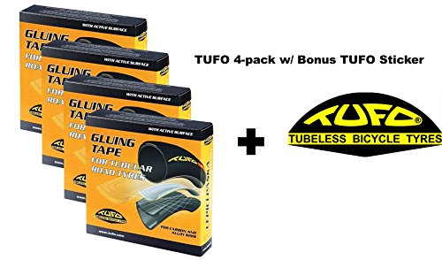 Tufo Tubular Tire Gluing Tape Designed for Road CX 700c Tires 4 PACK w/ BONUS Sticker