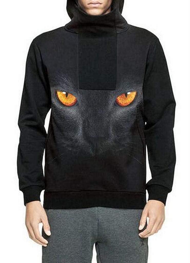 Fubotevic Mens with Zip Deco Plus Size Turtleneck Loose 3D Print Pullover Hoodies Sweatshirt