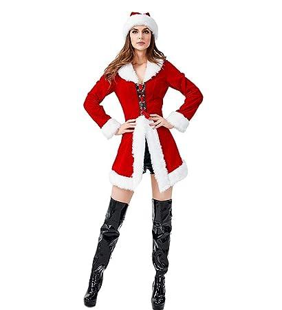 BERTHACC Disfraz De Navidad Mujer Vestido Rojo De Terciopelo ...