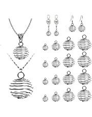 KINBOM 100 Pcs 4 Sizes Silver Plated Spiral Bead Cages Pendants,Stone Crystal Holder Cage Ring for Jewelry Necklace Making DIY Craft