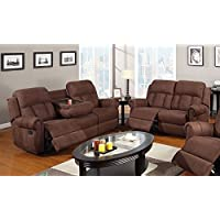 1PerfectChoice 2 pc Modern Recliner Sofa w/ Cup Holder Couch Recline Loveseat Brown Microfiber